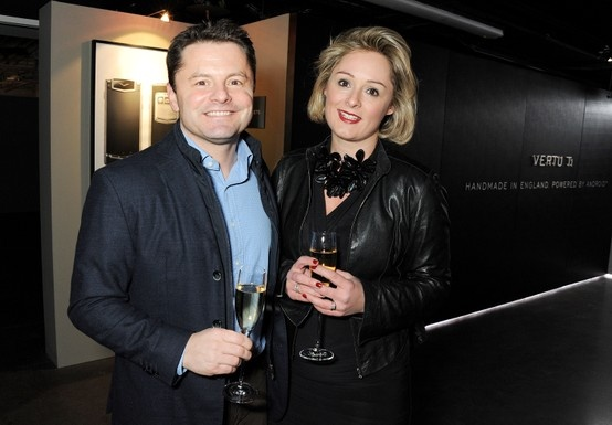 Chris Hollins and wife Sarah at the Vertu Ti Launch