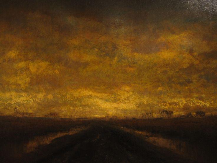 László Mednyánszky, Slushy Road, Autumn Field at Twilight [1890s]