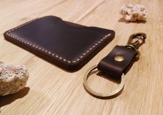 Set wallet & keychain card holder minimalist style Leather keychain Leather credit card holder Keyfob leather Boyfriend gift Father's gift