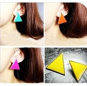 E475 2016 new Girls fashion punk style colorful candy-colored geometric triangle Stud Earrings for Women jewelry accessories