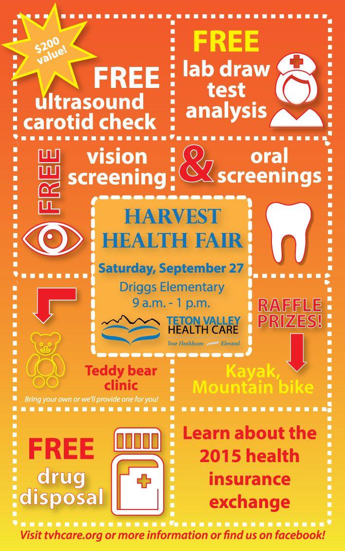 Teton Valley Health Care's Harvest Health Fair 2014 will be held Saturday, September 27 at Driggs Elementary School. #healthfair