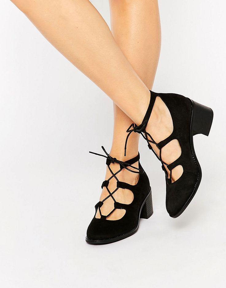 Truffle Collection Lace Up Mid Heel Shoes