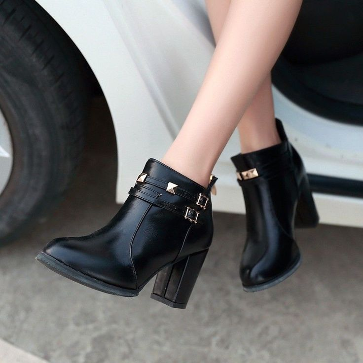 Classic Womens Shoes Chunky Block Heel Rivet Straps Buckle Pointed Ankle Boots
