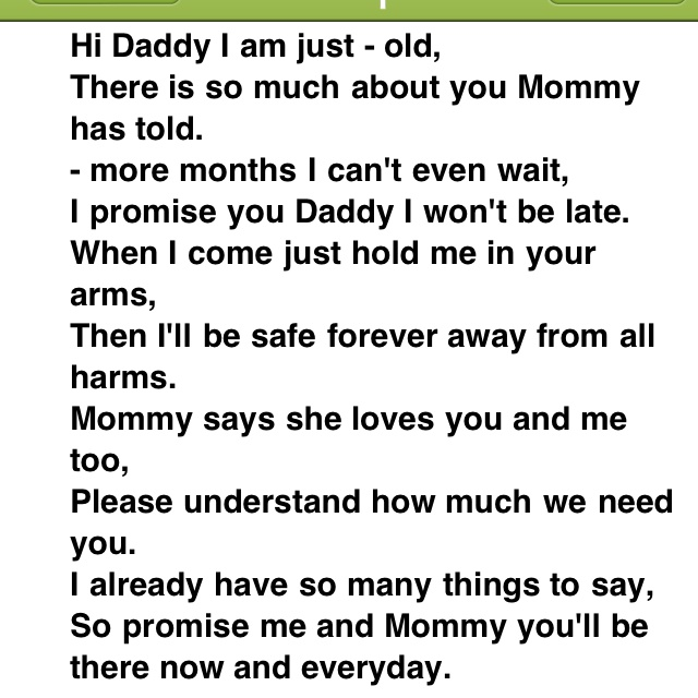 to daddy from a unborn baby awe