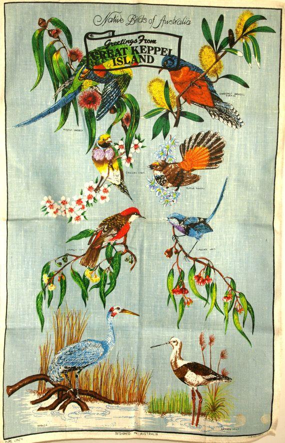 Native Birds of Australia Polish Linen Tea Towel  by FunkyKoala