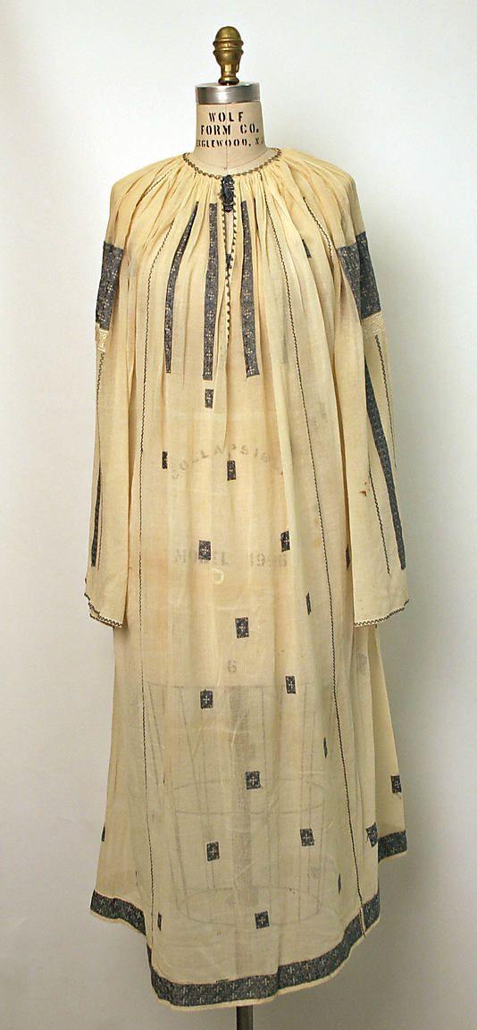 Dress Date: 1800–1945 Culture: Romanian Medium: cotton