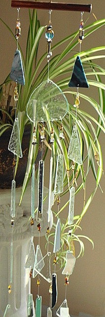 Stained glass & crystal wind chime. Contains, crystal chips, glass beads and stained glass hung from a bamboo hanger. Created intuitively using Feng Shui, infused with healing Reiki and rare earth energies.: Fengshui, Windchimes Sun Dreamcatchers, Windchimes Suncatchers, Sea Glass, Wind Chim, Stained Glass