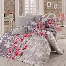 Bahar Lama v1 roz - lenjerie de pat din bumbac ranforce 2 persoane - tesatura…
