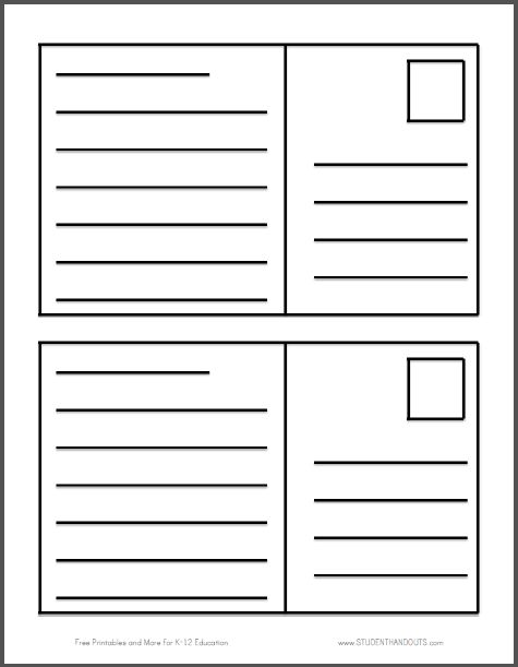Postcard Writing Template Free To Print PDF File Two