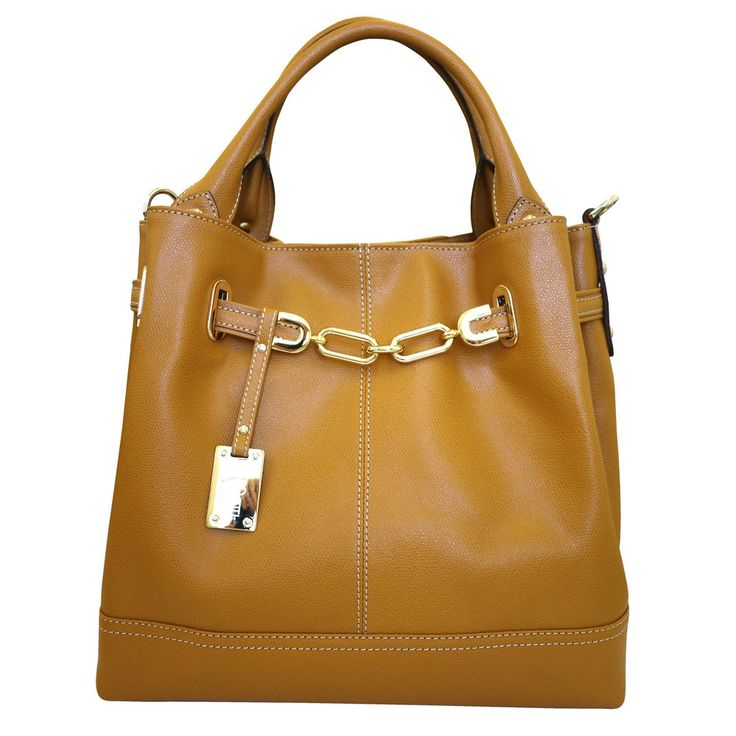 Tan bucket bag with fab gold chain.