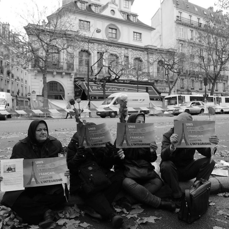 A group of Muslim women protests against fundamentalism in front of Bataclan theatre in Paris two days after the deadly terror attack inside this building took lives of 89 people.  Took this picture in November 2015.  #Paris #France #ParisAttacks #Islam