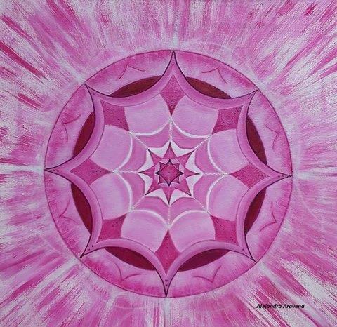 Mandala Magenta monocromía, acrílicos sobre bastidor 40 x 40 cm. Autor: Alejandra Aravena