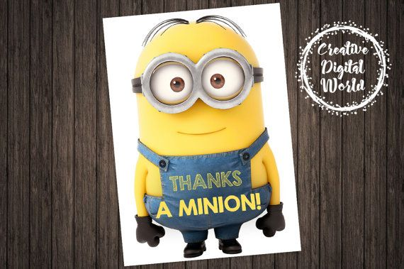 Minions Thank You Card Party Birthday by CreativeDigitalWorld