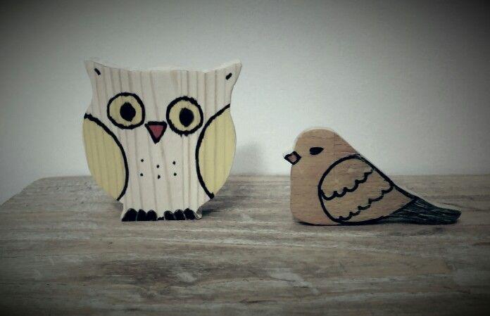 Owl bird wood toy