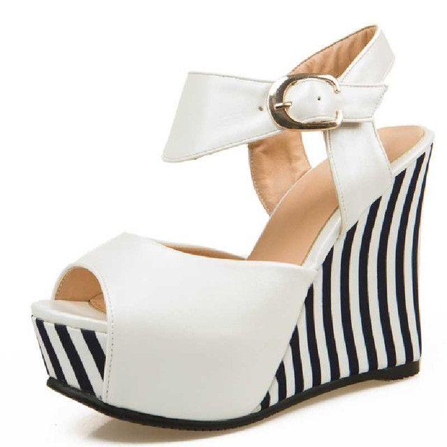 DoraTasia Vintage White Black Streak Printed Wedge High Heel Sandals