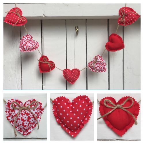 Handmade #shabby chic #fabric heart garland/bunting - #red/valentines, View more on the LINK: http://www.zeppy.io/product/gb/2/331895142867/