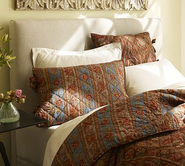 Raleigh Upholstered Square Bed & Headboard #potterybarn