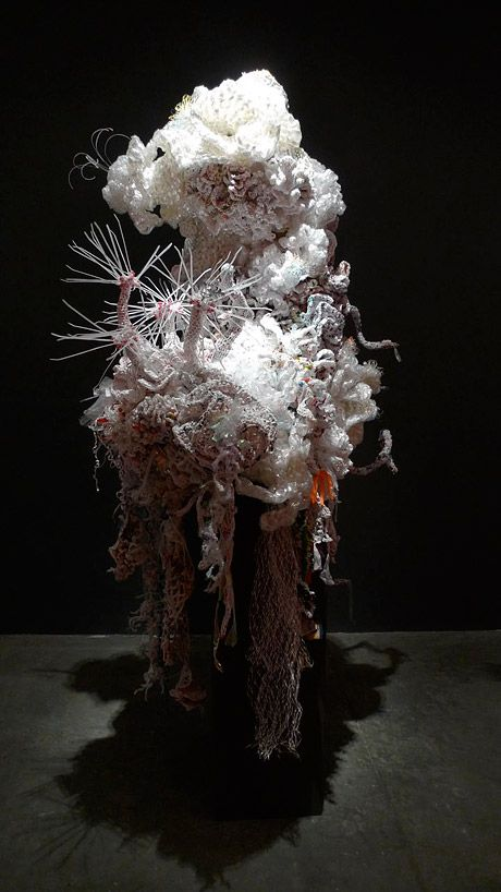 "Crocheted plastic. 8' tall installation. Anemones, corals, from ""Hyperbolic: Reefs, Rubbish, and Reason"" exhibition."
