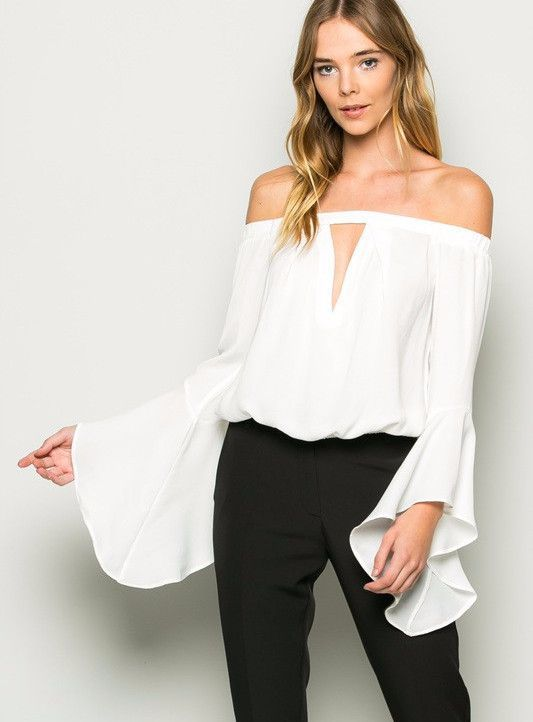 Off Shoulder Bell Sleeve Top - White