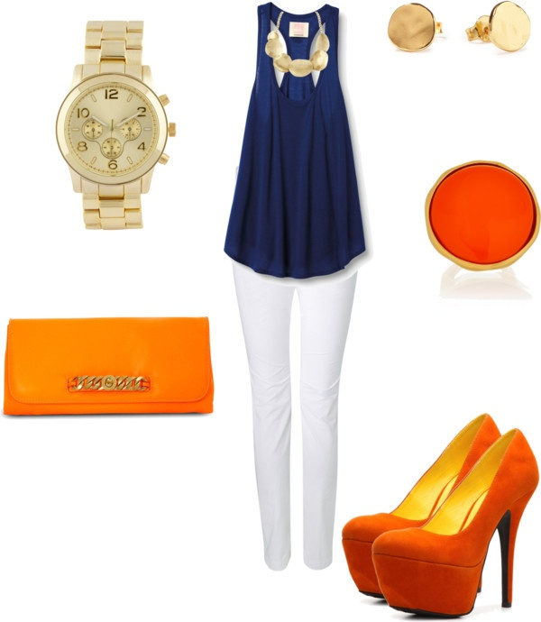 """Orange-Blue Combination"" by velkis-rios on Polyvore"