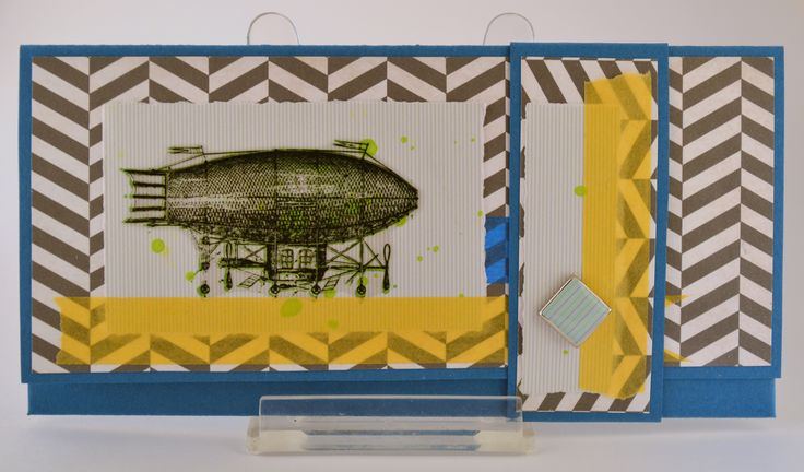 Envelope, airship, blue, yellow, chevron
