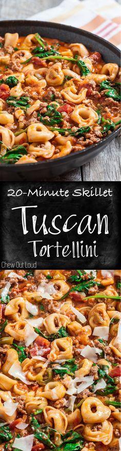 20-Minute Skillet Tuscan Tortellini. Quick Comfort Food at its best. Family & friends love this weeknight dinner. #italian #tortellini