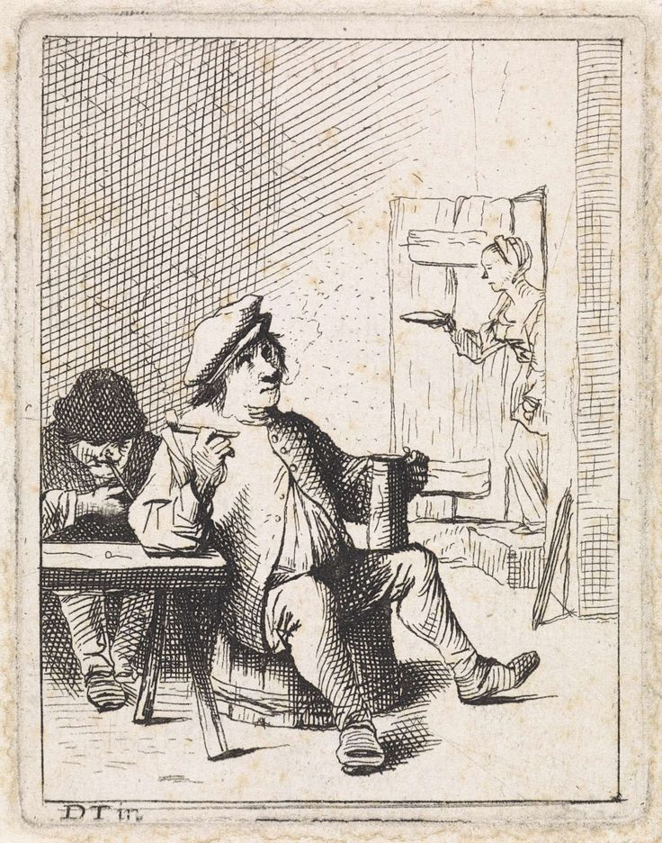 Anonymous   Zittende boer met kruik en pijp, Anonymous, 1626 - 1740   Een boer zit rechts naast een tafel, met een kruik en een pijp in zijn handen. Achter de tafel zit een man. Rechts komt een vrouw door de deur de ruimte binnen.