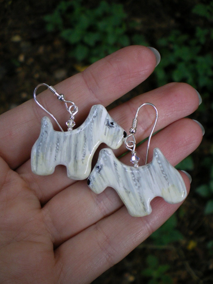 Handpainted Funny Westie Earrings, Decorated with Matching Beads (made to order). $25.00, via Etsy.