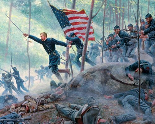Charge of Colonel Joshua Chamberlain & the 20th Maine at Gettysburg. Huzzah for the Union!