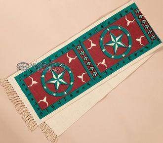 Southwestern Textured Table Runner 13x72 -Turquoise Star (hirun158)