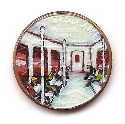 Paintings on Pennies by Michael Leavitt.