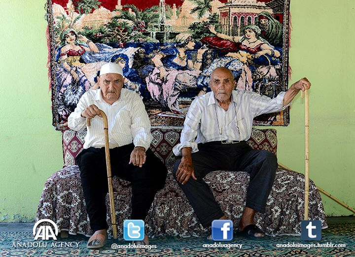 113-year-old Omer Kanat (L) and his brother 109-year-old Semun Kanat (R) have family of 245 members.