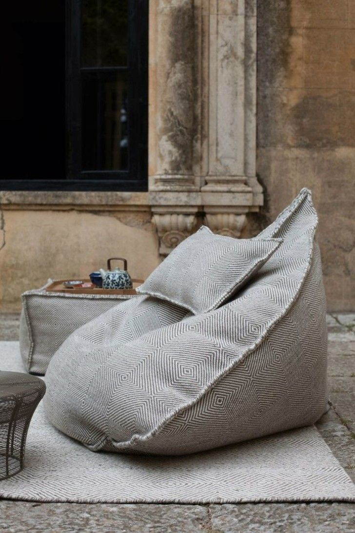 How To Find The Right Living Room Bean Bags: Excellent Image Of Living Room Decoration Using Patterned Light Gray Living Room Bean Bags Chair Including Light Grey Velvet Pattern Living Room Area Rug And Square Cubic Light Grey Pattern Ottoman In Living Room ~ coolanz.com Living Room Inspiration