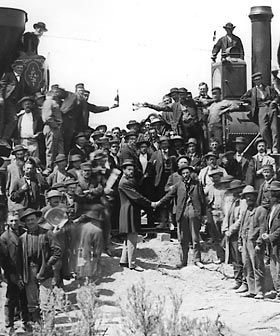 The meeting of the rails at Promontory Point. Utah. May 10, 1869.