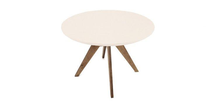 Table De Repas Ronde Design Fjord - 105 cm Pied Teinté Noyer