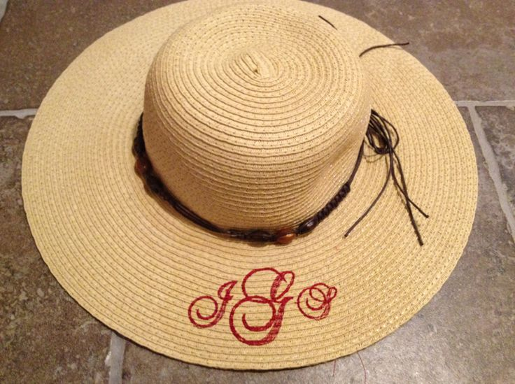 How To Monogram A Straw Hat With Your Embroidery Machine | Machine Embroidery | Pinterest ...