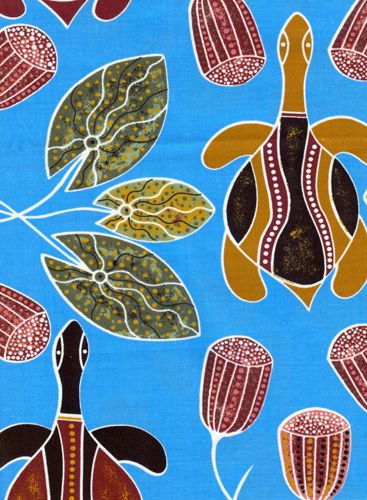 "Ausdesign Tablecloth - Freshwater Turtles Artist:  Kathy Bobongie Artwork design story enclosed with tablecloth  suitable for a 6 seater dinner table  Rectangle - Dinner 206cm x 107cm (81"" x 42"") Australian Made - 100% Cotton Price - $50.00 each [incl GST]"