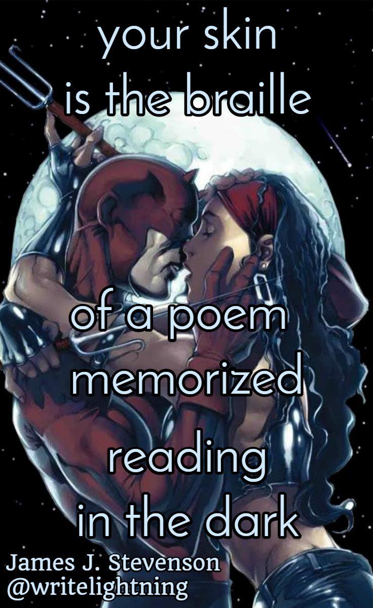 Marvel Daredevil and Elektra haiku. Poetry by James J. Stevenson.