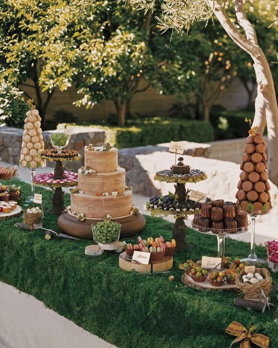 A moss runner, faux bois details, and sweets inspired by nature fit in perfectly to Katie and Ian's woodland wedding.