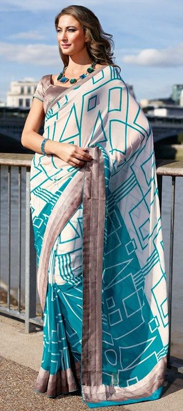 126600: COCKTAIL PARTY LOOK: #geometrical #Prints #Saree #trend2014 #Indian #Blue