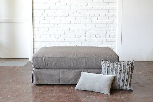 Lounge Ottoman - Large ottoman upholstered in a soft gray fabric. Great indoor or outdoor seating option using one or all four at your wedding reception or party. Paisley & Jade...Vintage & Eclectic Furniture Rentals for Events, Weddings, Theatrical Productions & Photo Shoots*