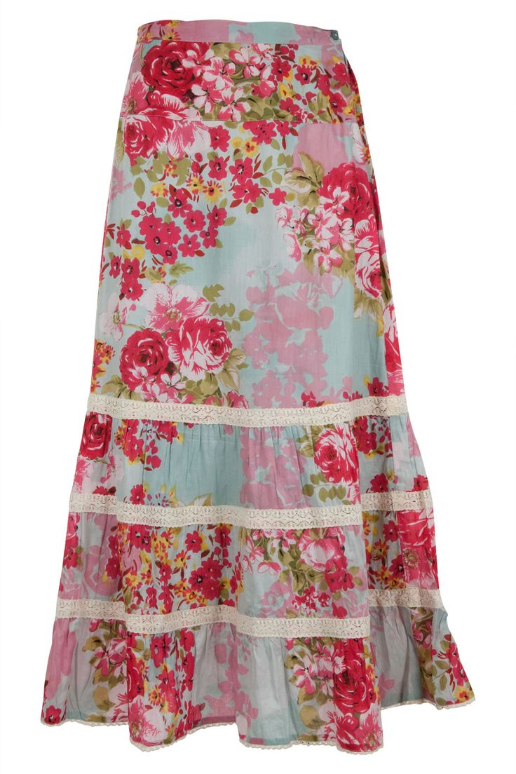 I had a beautiful, tiered, floral skirt like this in my teens.  I would love to try and replicate it.