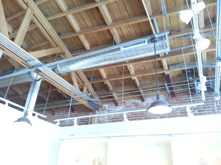 cool garage lighting ideas - Open web truss exposed duct runs rigid conduits