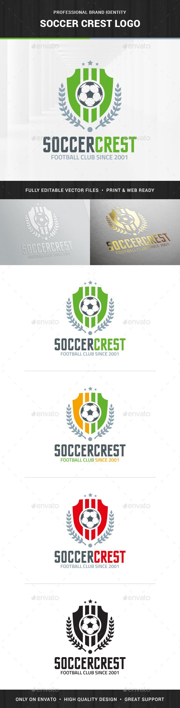 Soccer Crest Logo Template — Transparent PNG #royal #laurel wreath • Available here → https://graphicriver.net/item/soccer-crest-logo-template/14464641?ref=pxcr