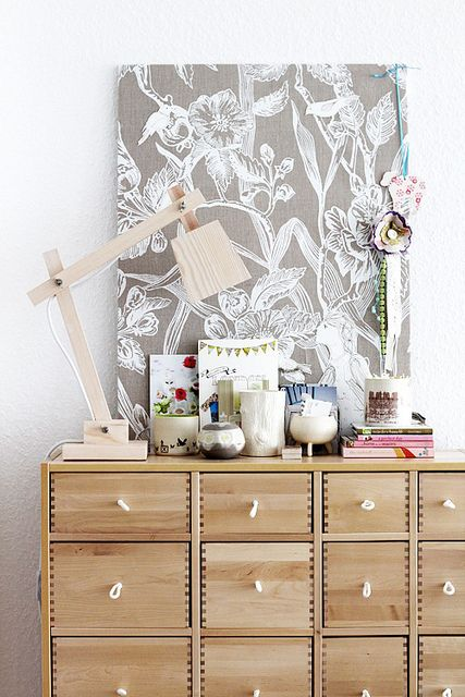 Great pattern canvas and fabric pull drawers from Ikea (how sad, they don't sell this beauty anymore) (via decor8)