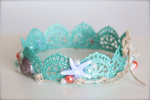 Sirena inspirado a playa bebé corona de encaje por LilBirdsCouture