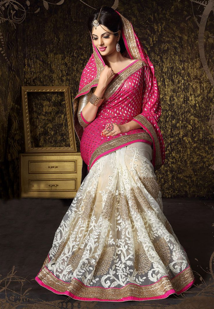 Fuchsia and Off White Faux Georgette and Net Saree with Blouse: STN917
