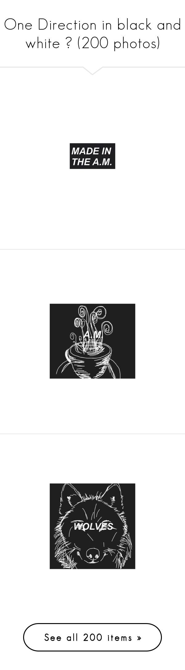 """""""One Direction in black and white ☯ (200 photos)"""" by get-weird ❤ liked on Polyvore featuring harry, & square pictures, one direction, - harry, harry styles, zayn malik, home, home decor, black and white home decor and black white home decor"""