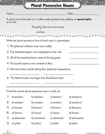 Possessive nouns, Grammar and Worksheets on Pinterest