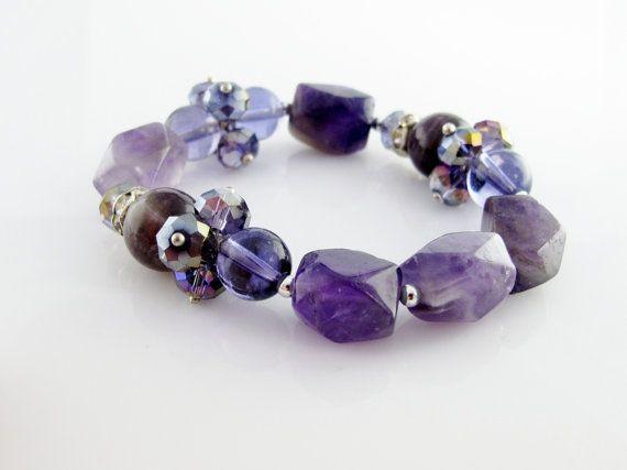 Bracelet d'améthyste et cristaux par Bijoux Estreilla